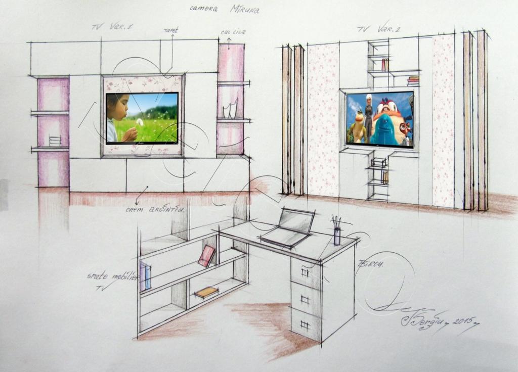 Desen mobilier corpt TV camera Miruna 2015